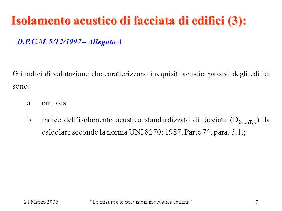 21 Marzo 2006 Le misure e le previsioni in acustica edilizia 7 Isolamento acustico di facciata di edifici (3): D.P.C.M.