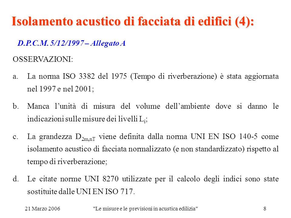 21 Marzo 2006 Le misure e le previsioni in acustica edilizia 8 Isolamento acustico di facciata di edifici (4): D.P.C.M.