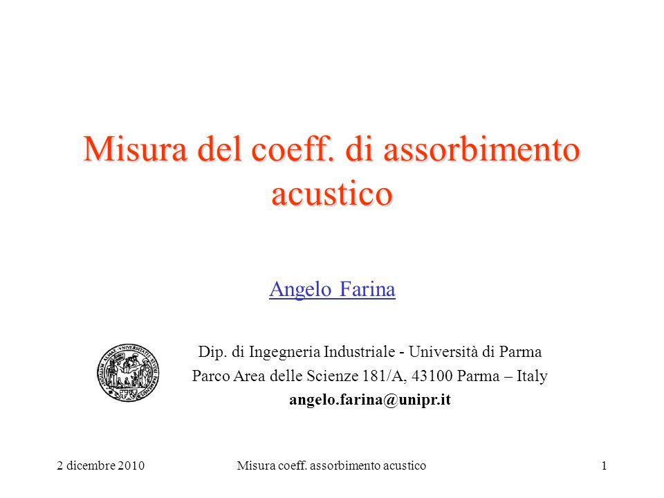 2 dicembre 2010Misura coeff.assorbimento acustico1 Misura del coeff.