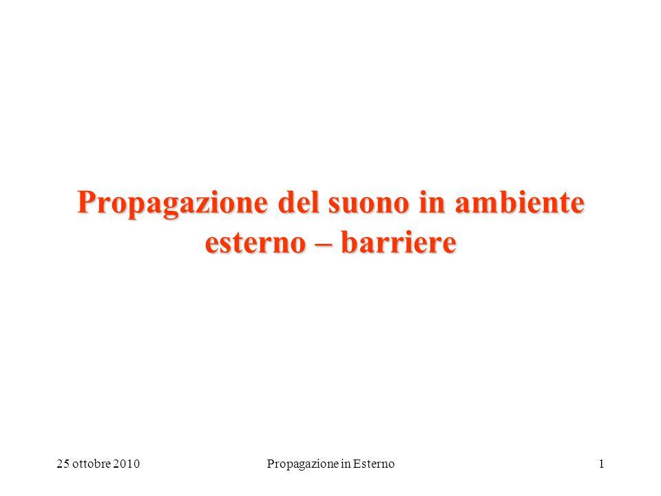 25 ottobre 2010Propagazione in Esterno1 Propagazione del suono in ambiente esterno – barriere