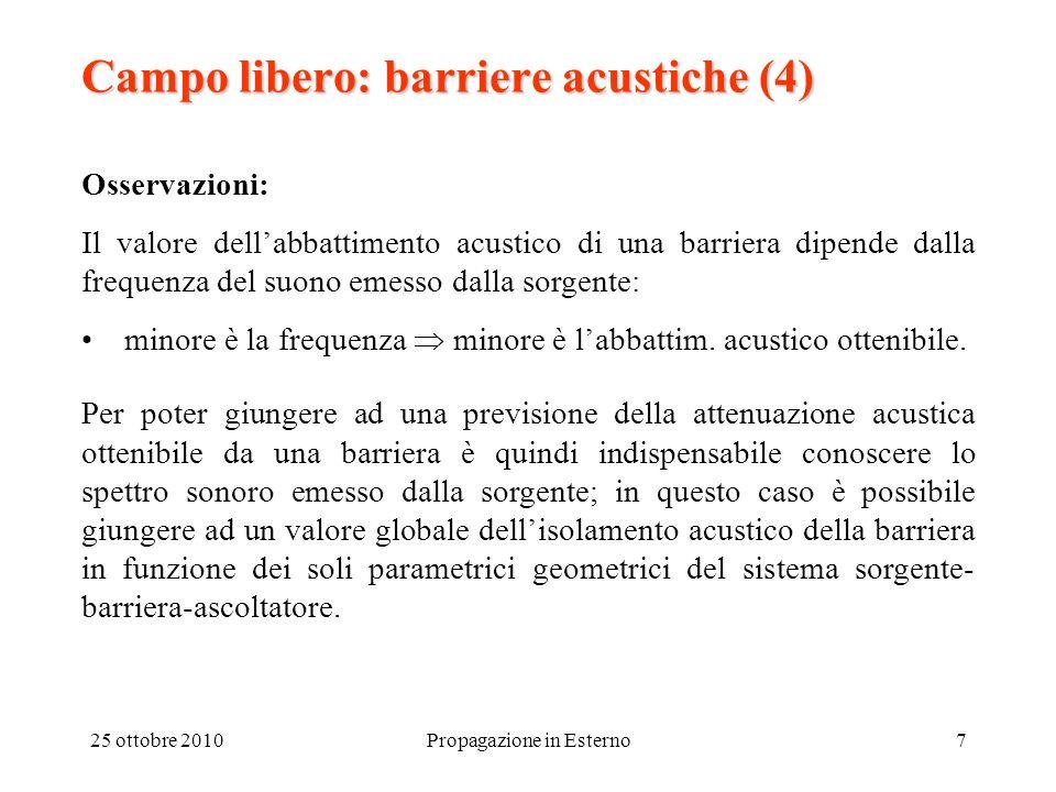 25 ottobre 2010Propagazione in Esterno7 Campo libero: barriere acustiche (4) Osservazioni: Il valore dellabbattimento acustico di una barriera dipende