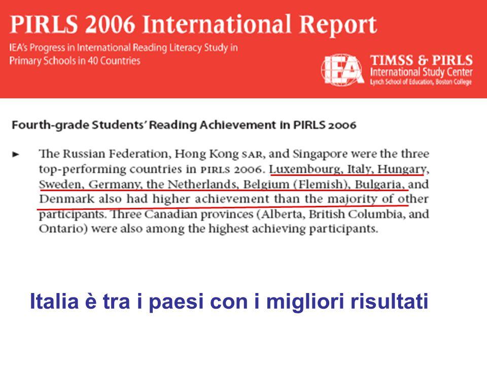 Italia è tra i paesi con i migliori risultati