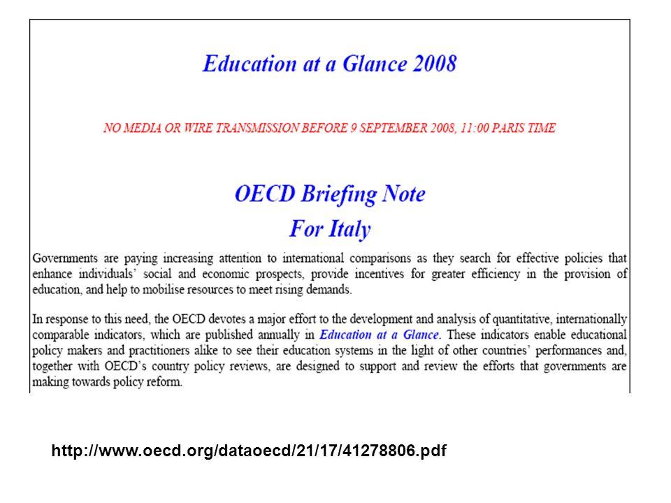 Education at a glance 2008 In italia vi sono molti bambini che vanno alla scuola dellinfanzia e questo consente di avere delle solide fondamenta per una successiva formazione.