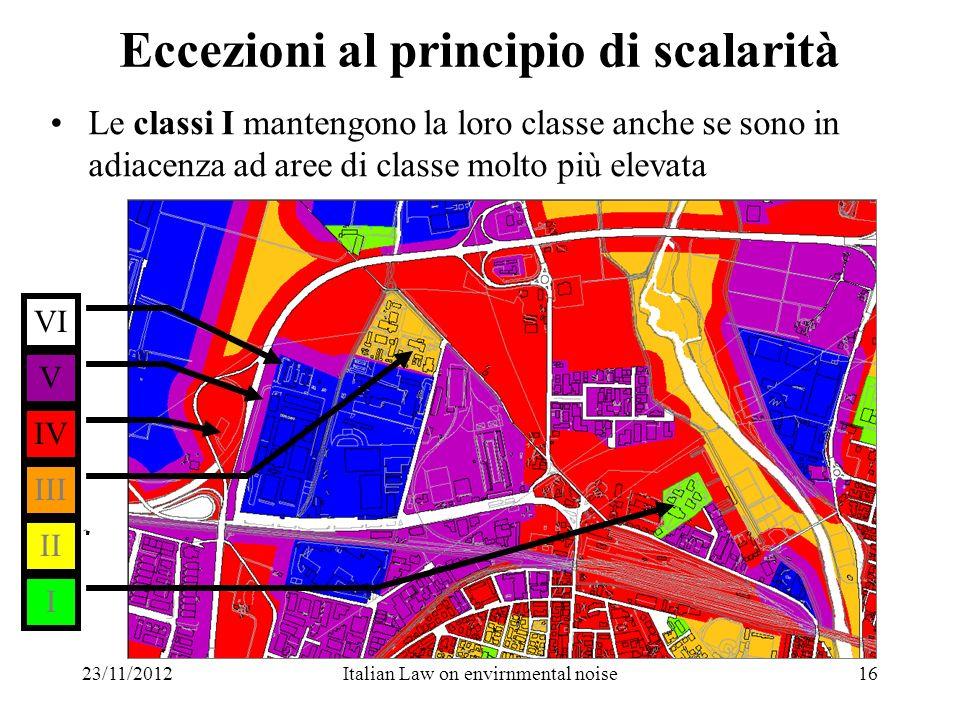 23/11/2012Italian Law on envirnmental noise16 Eccezioni al principio di scalarità Le classi I mantengono la loro classe anche se sono in adiacenza ad