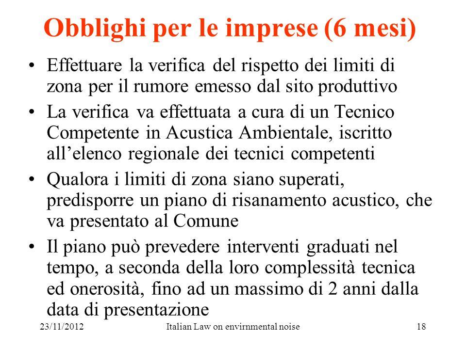 23/11/2012Italian Law on envirnmental noise18 Obblighi per le imprese (6 mesi) Effettuare la verifica del rispetto dei limiti di zona per il rumore em
