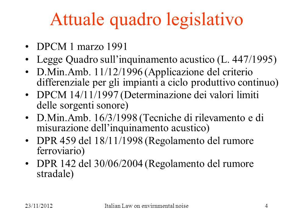 23/11/2012Italian Law on envirnmental noise4 Attuale quadro legislativo DPCM 1 marzo 1991 Legge Quadro sullinquinamento acustico (L. 447/1995) D.Min.A