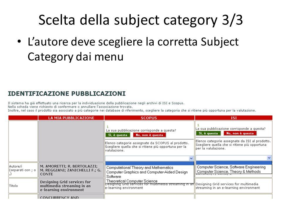 Scelta della subject category 3/3 Lautore deve scegliere la corretta Subject Category dai menu