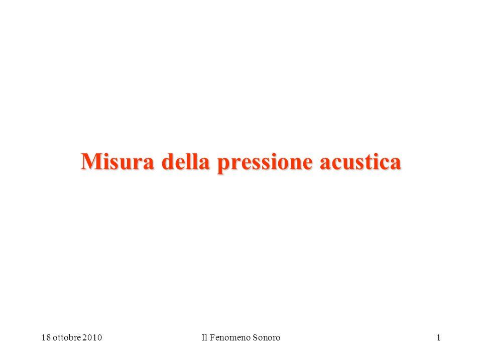 18 ottobre 2010Il Fenomeno Sonoro1 Misura della pressione acustica