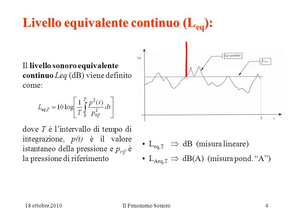 18 ottobre 2010Il Fenomeno Sonoro4 Livello equivalente continuo (L eq ): Il livello sonoro equivalente continuo Leq (dB) viene definito come: dove T è