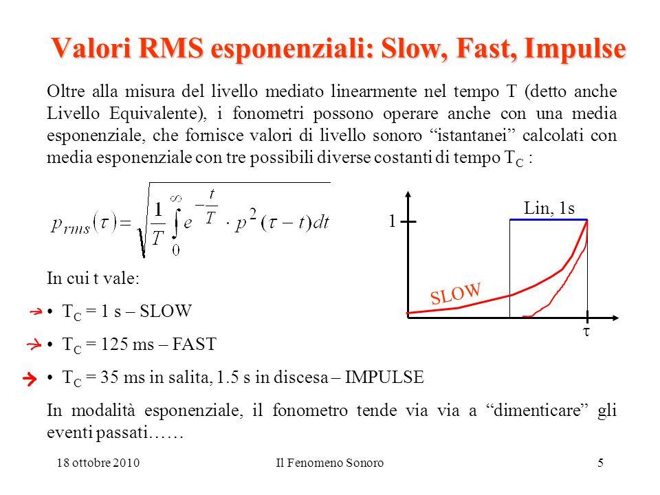 18 ottobre 2010Il Fenomeno Sonoro5 Valori RMS esponenziali: Slow, Fast, Impulse Oltre alla misura del livello mediato linearmente nel tempo T (detto a