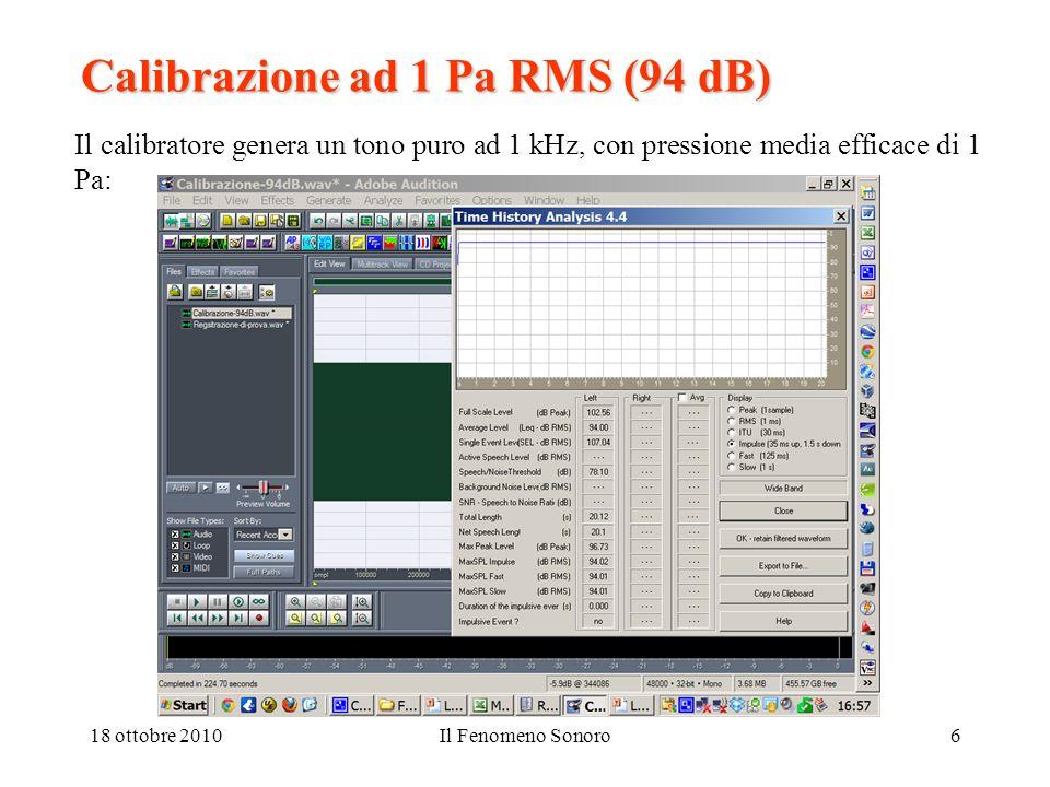 18 ottobre 2010Il Fenomeno Sonoro6 Calibrazione ad 1 Pa RMS (94 dB) Il calibratore genera un tono puro ad 1 kHz, con pressione media efficace di 1 Pa: