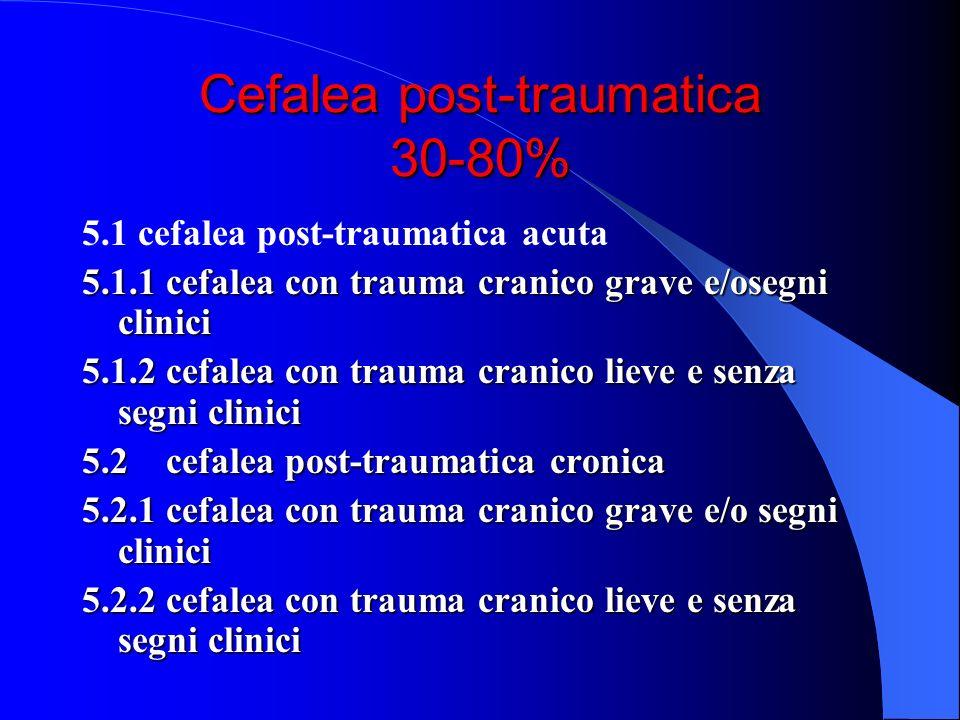 Cefalea post-traumatica 30-80% 5.1 cefalea post-traumatica acuta 5.1.1 cefalea con trauma cranico grave e/osegni clinici 5.1.2 cefalea con trauma cran