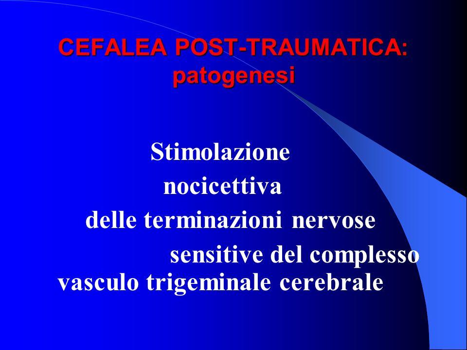 CEFALEA POST-TRAUMATICA: patogenesi Stimolazione nocicettiva delle terminazioni nervose sensitive del complesso vasculo trigeminale cerebrale