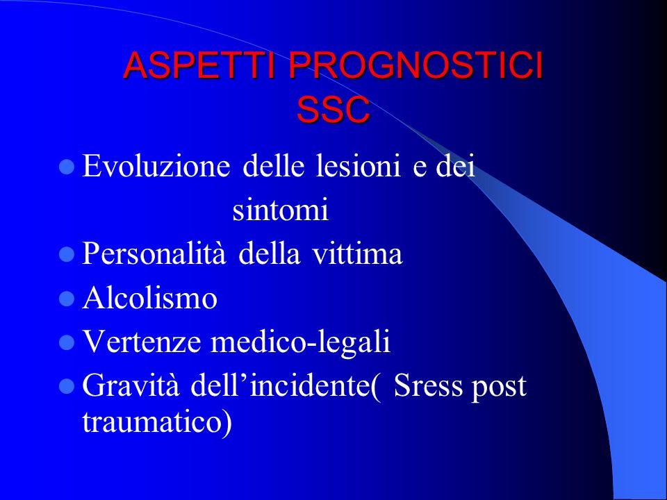 ASPETTI PROGNOSTICI SSC Evoluzione delle lesioni e dei sintomi Personalità della vittima Alcolismo Vertenze medico-legali Gravità dellincidente( Sress