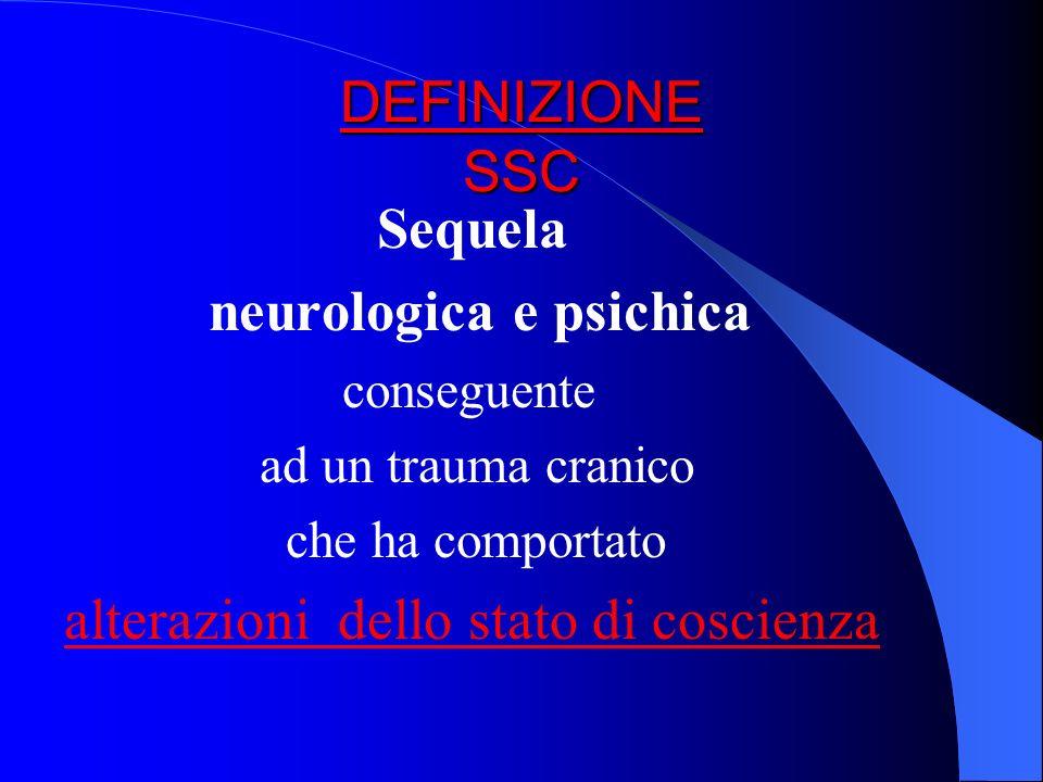 DEFINIZIONE SSC Sequela neurologica e psichica conseguente ad un trauma cranico che ha comportato alterazioni dello stato di coscienza