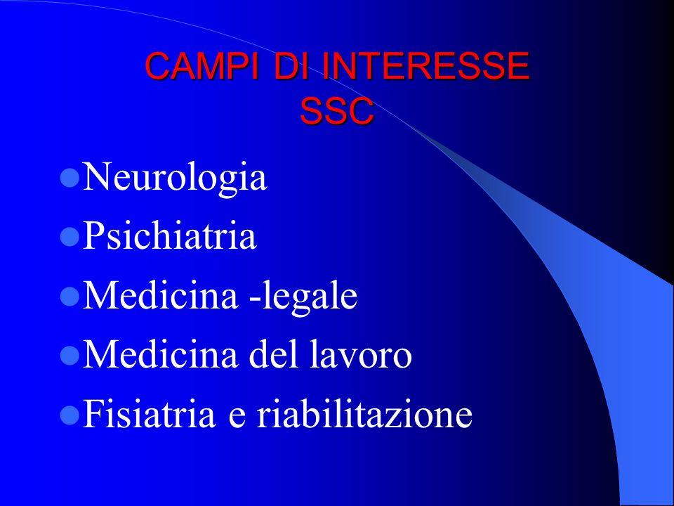 CAMPI DI INTERESSE SSC Neurologia Psichiatria Medicina -legale Medicina del lavoro Fisiatria e riabilitazione