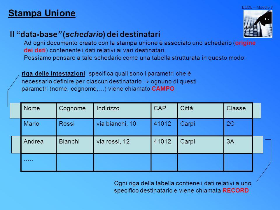 ECDL – Modulo 3 Stampa Unione Il data-base (schedario) dei destinatari Ad ogni documento creato con la stampa unione è associato uno schedario (origin