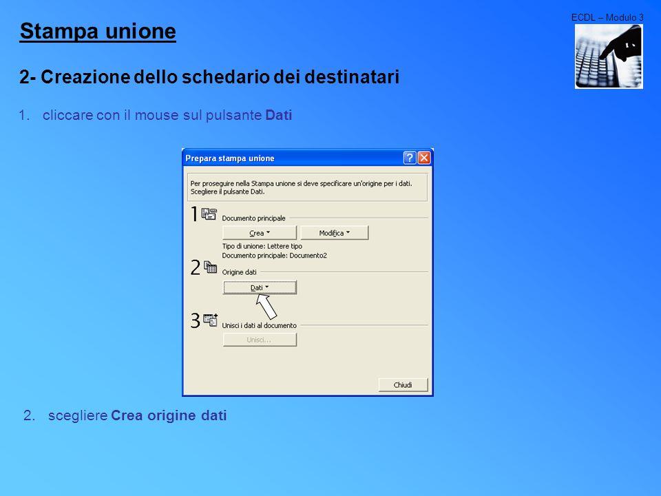 ECDL – Modulo 3 Stampa unione 2- Creazione dello schedario dei destinatari 1.cliccare con il mouse sul pulsante Dati 2.scegliere Crea origine dati