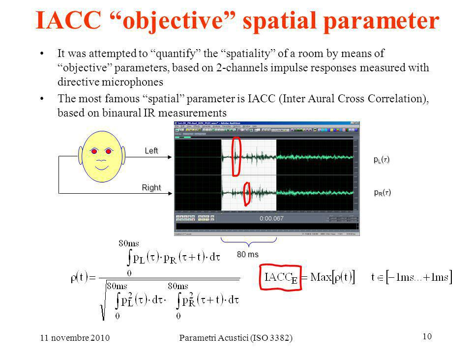 11 novembre 2010Parametri Acustici (ISO 3382) 10 IACC objective spatial parameter It was attempted to quantify the spatiality of a room by means of ob