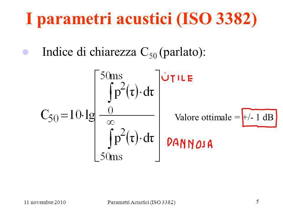 11 novembre 2010Parametri Acustici (ISO 3382) 5 I parametri acustici (ISO 3382) Indice di chiarezza C 80 (musica sinfonica): Indice di chiarezza C 50