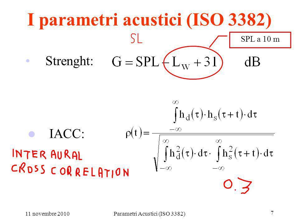 11 novembre 2010Parametri Acustici (ISO 3382) 7 I parametri acustici (ISO 3382) Strenght: IACC: SPL a 10 m