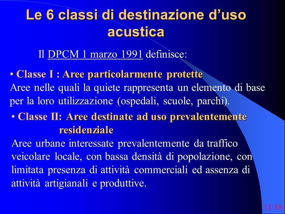11/38 Le 6 classi di destinazione duso acustica Il DPCM 1 marzo 1991 definisce: Aree particolarmente protette Classe I : Aree particolarmente protette Aree nelle quali la quiete rappresenta un elemento di base per la loro utilizzazione (ospedali, scuole, parchi).