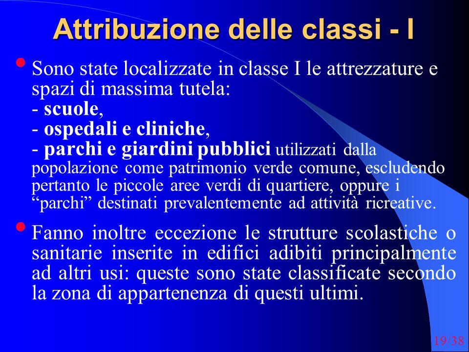 19/38 Attribuzione delle classi - I Sono state localizzate in classe I le attrezzature e spazi di massima tutela: - scuole, - ospedali e cliniche, - p