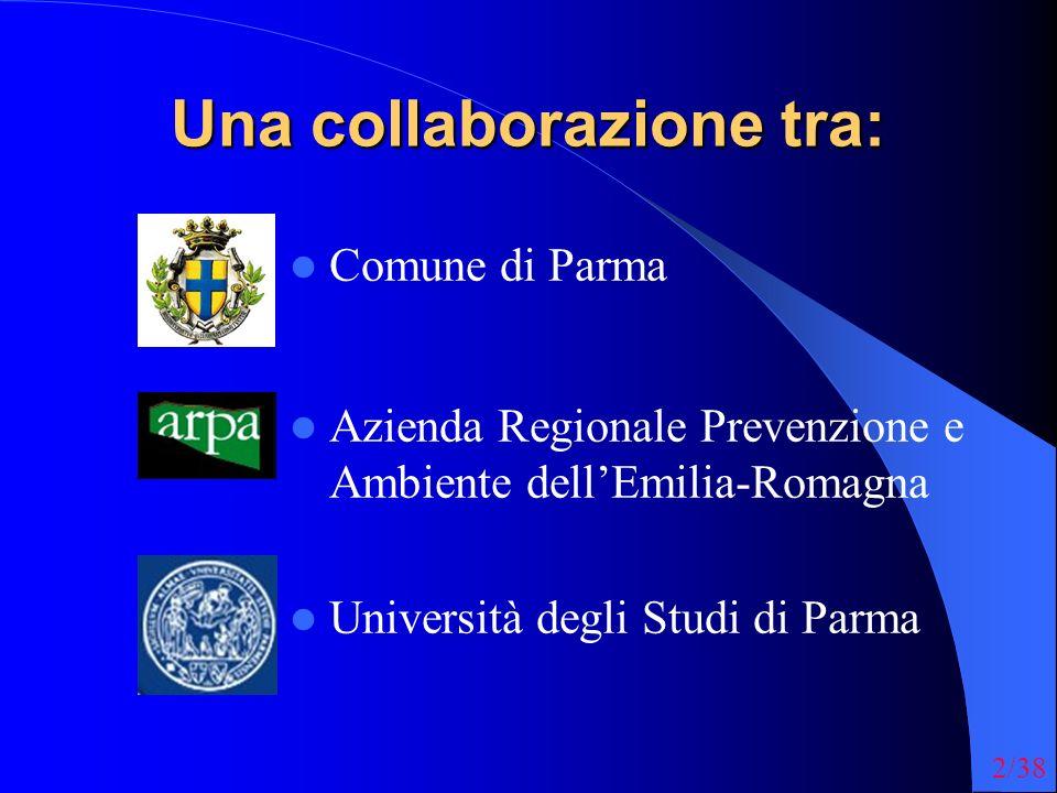 2/38 Una collaborazione tra: Comune di Parma Azienda Regionale Prevenzione e Ambiente dellEmilia-Romagna Università degli Studi di Parma