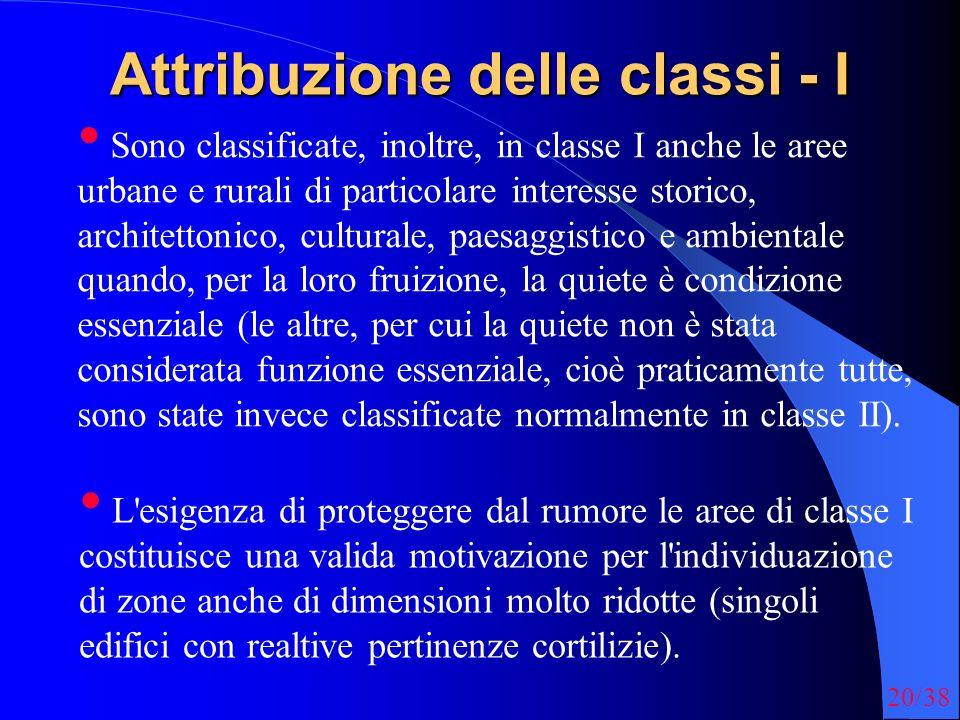 20/38 Attribuzione delle classi - I Sono classificate, inoltre, in classe I anche le aree urbane e rurali di particolare interesse storico, architetto