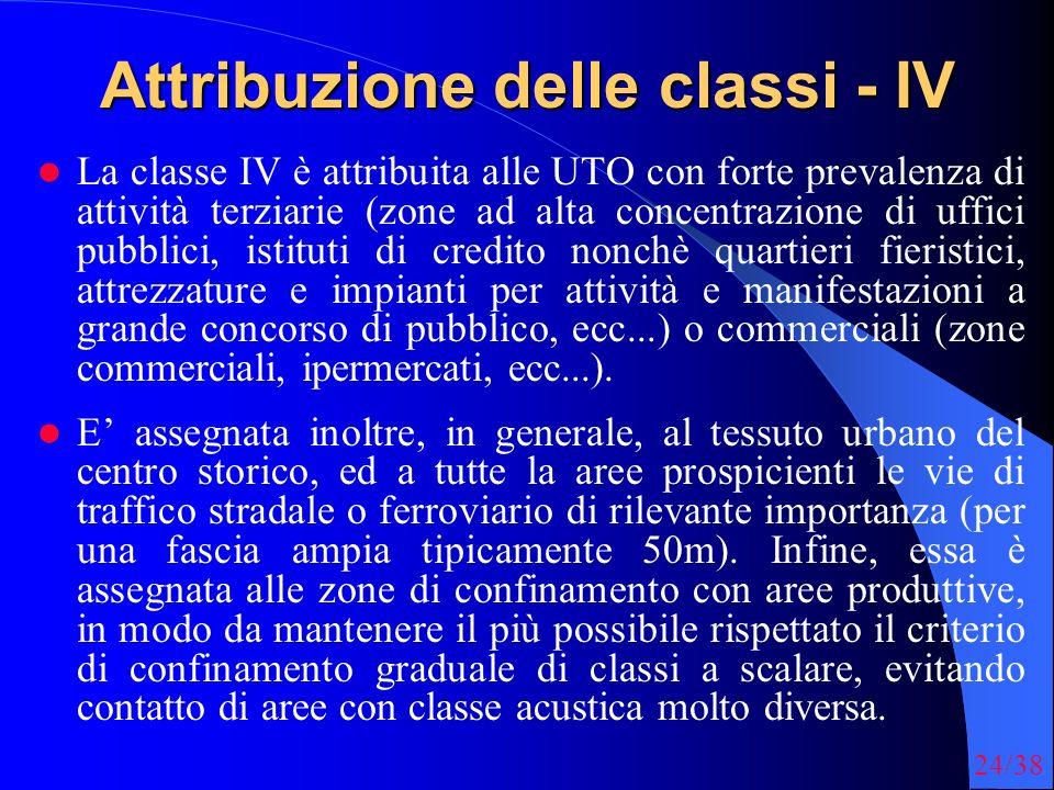 24/38 Attribuzione delle classi - IV La classe IV è attribuita alle UTO con forte prevalenza di attività terziarie (zone ad alta concentrazione di uff