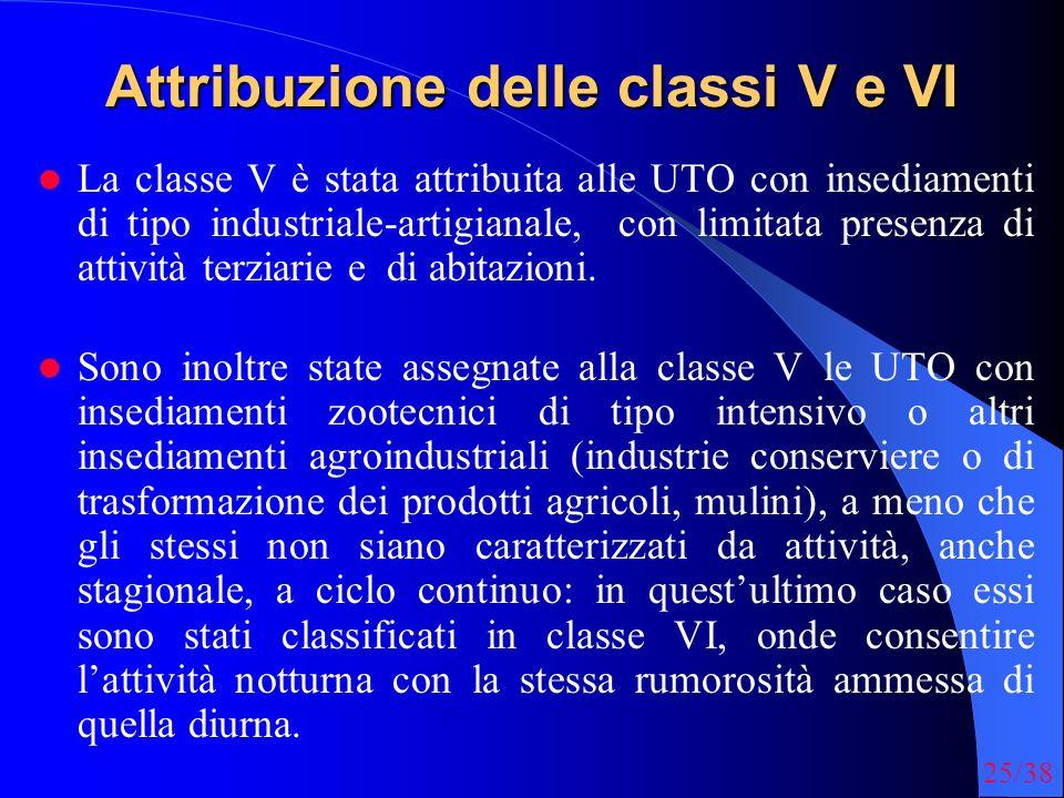 25/38 Attribuzione delle classi V e VI La classe V è stata attribuita alle UTO con insediamenti di tipo industriale-artigianale, con limitata presenza di attività terziarie e di abitazioni.