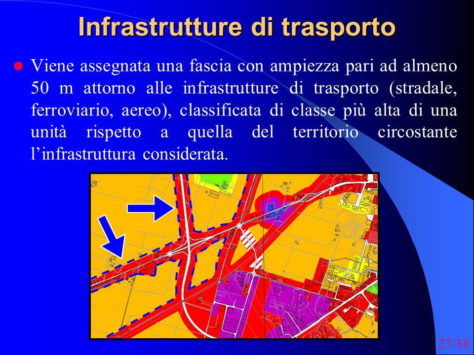 27/38 Infrastrutture di trasporto Viene assegnata una fascia con ampiezza pari ad almeno 50 m attorno alle infrastrutture di trasporto (stradale, ferroviario, aereo), classificata di classe più alta di una unità rispetto a quella del territorio circostante linfrastruttura considerata.