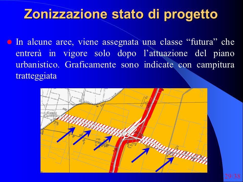29/38 Zonizzazione stato di progetto In alcune aree, viene assegnata una classe futura che entrerà in vigore solo dopo lattuazione del piano urbanistico.
