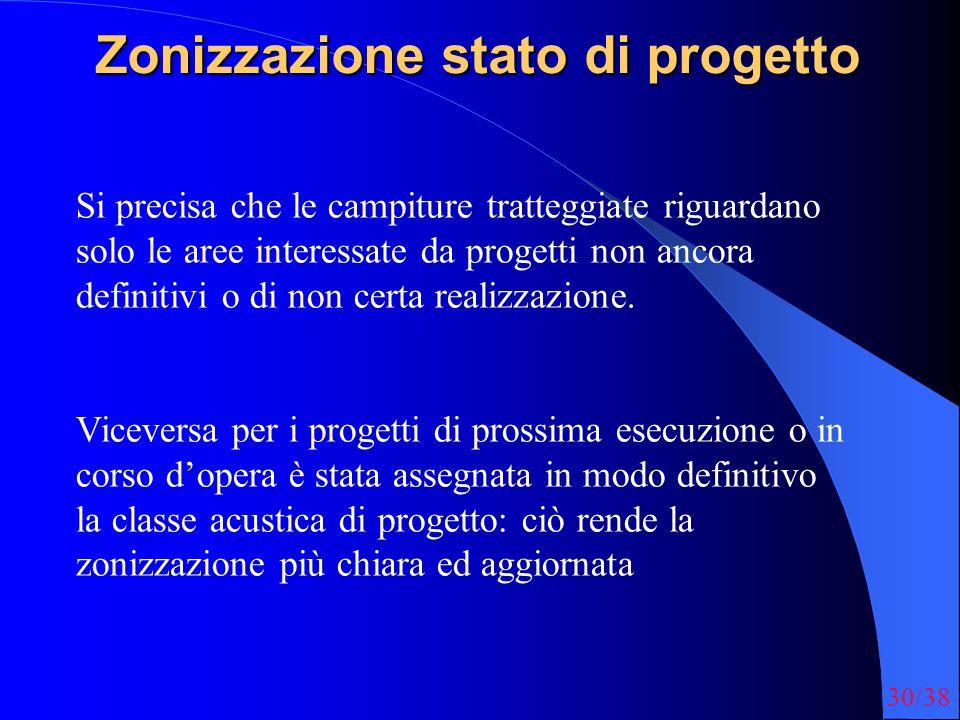 30/38 Zonizzazione stato di progetto Si precisa che le campiture tratteggiate riguardano solo le aree interessate da progetti non ancora definitivi o
