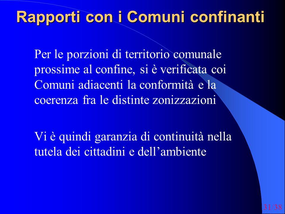 31/38 Rapporti con i Comuni confinanti Per le porzioni di territorio comunale prossime al confine, si è verificata coi Comuni adiacenti la conformità