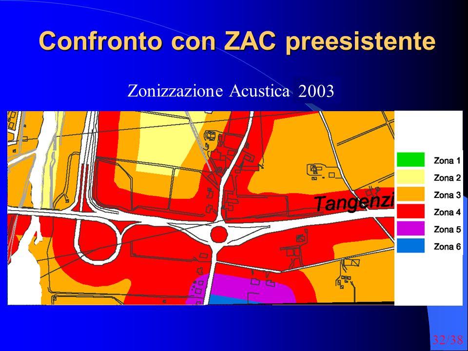 32/38 Confronto con ZAC preesistente Zonizzazione Acustica 1998 2003