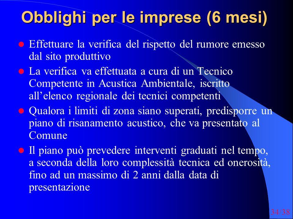 34/38 Obblighi per le imprese (6 mesi) Effettuare la verifica del rispetto del rumore emesso dal sito produttivo La verifica va effettuata a cura di u