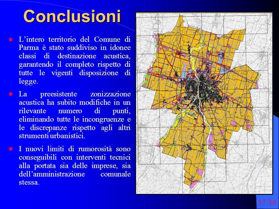 37/38Conclusioni Lintero territorio del Comune di Parma è stato suddiviso in idonee classi di destinazione acustica, garantendo il completo rispetto di tutte le vigenti disposizione di legge.