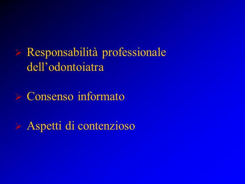 Responsabilità professionale dellOdontoiatra La diagnosi Messa in atto di interventi conosciuti e di provata esperienza Atti ed omissioni Nesso tra danno e intervento