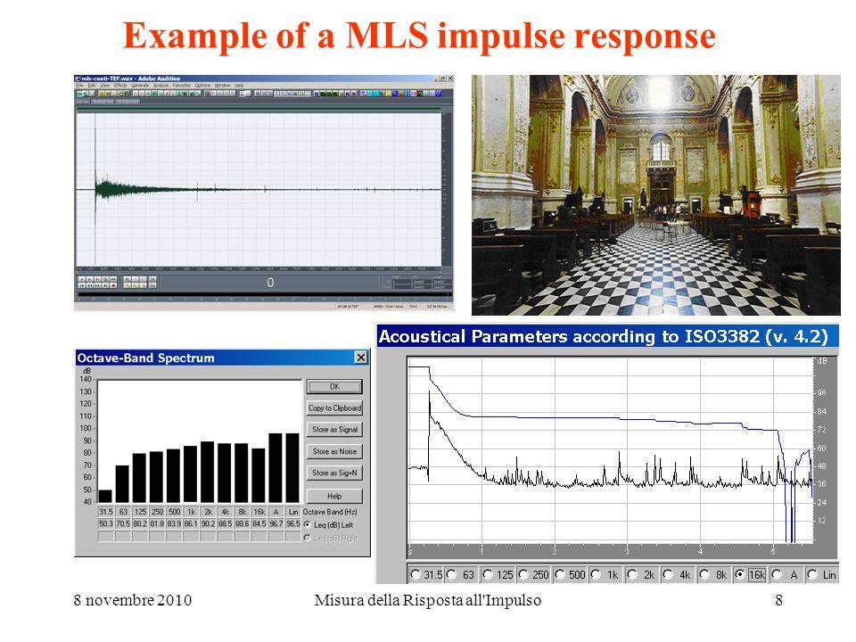 8 novembre 2010Misura della Risposta all Impulso8 Example of a MLS impulse response