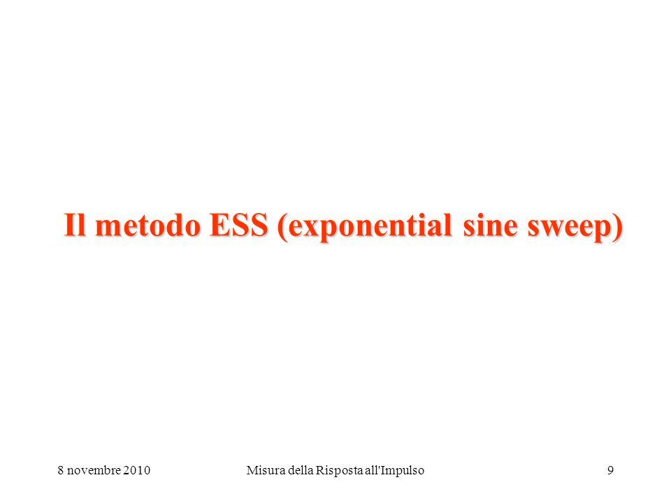 8 novembre 2010Misura della Risposta all Impulso9 Il metodo ESS (exponential sine sweep)