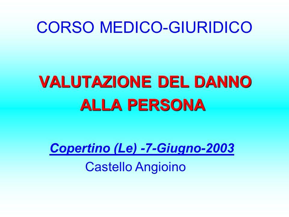 CORSO MEDICO-GIURIDICO VALUTAZIONE DEL DANNO ALLA PERSONA ALLA PERSONA Copertino (Le) -7-Giugno-2003 Castello Angioino