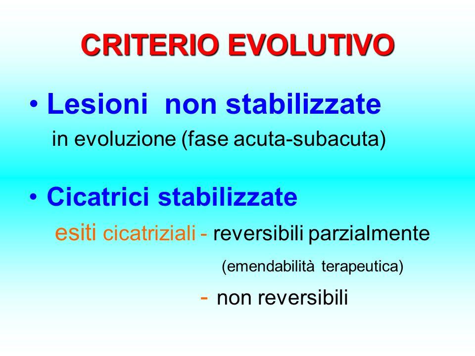 CRITERIO EVOLUTIVO Lesioni non stabilizzate in evoluzione (fase acuta-subacuta) Cicatrici stabilizzate esiti cicatriziali - reversibili parzialmente (