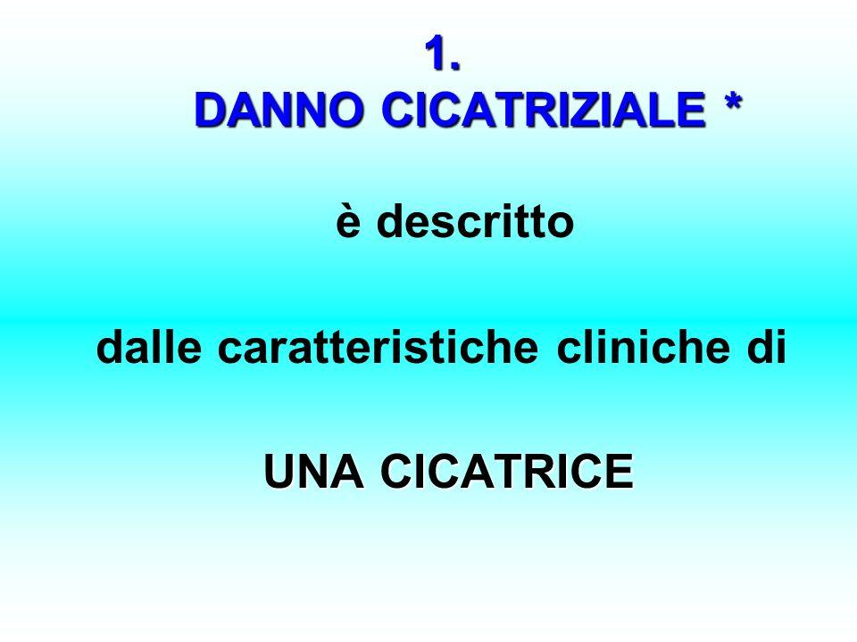 1. DANNO CICATRIZIALE * 1. DANNO CICATRIZIALE * è descritto dalle caratteristiche cliniche di UNA CICATRICE UNA CICATRICE