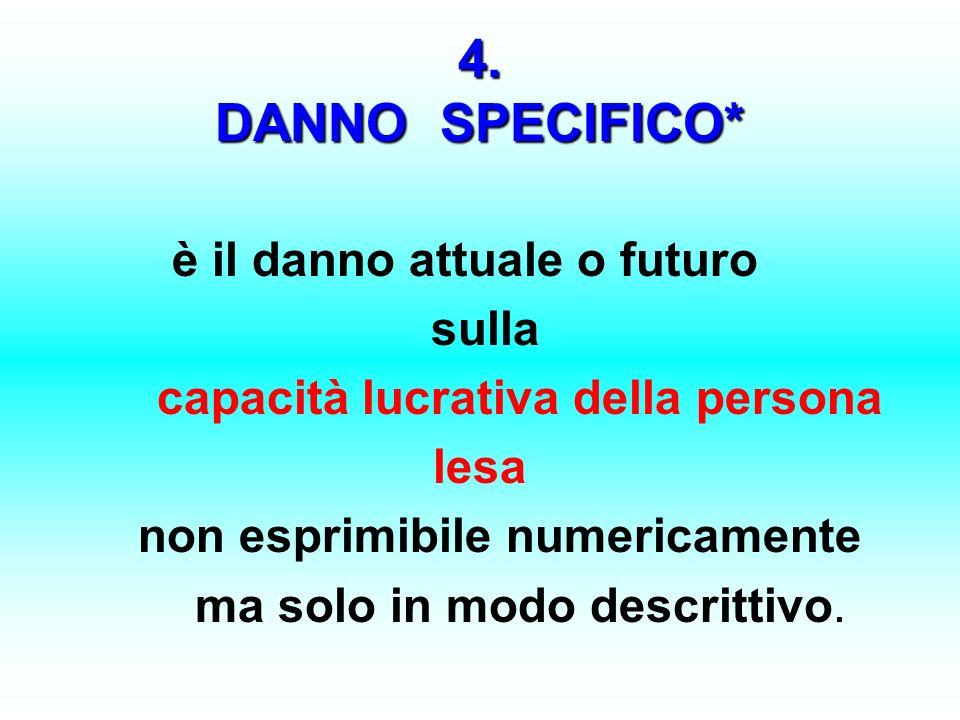 4. DANNO SPECIFICO* è il danno attuale o futuro sulla capacità lucrativa della persona lesa non esprimibile numericamente ma solo in modo descrittivo.