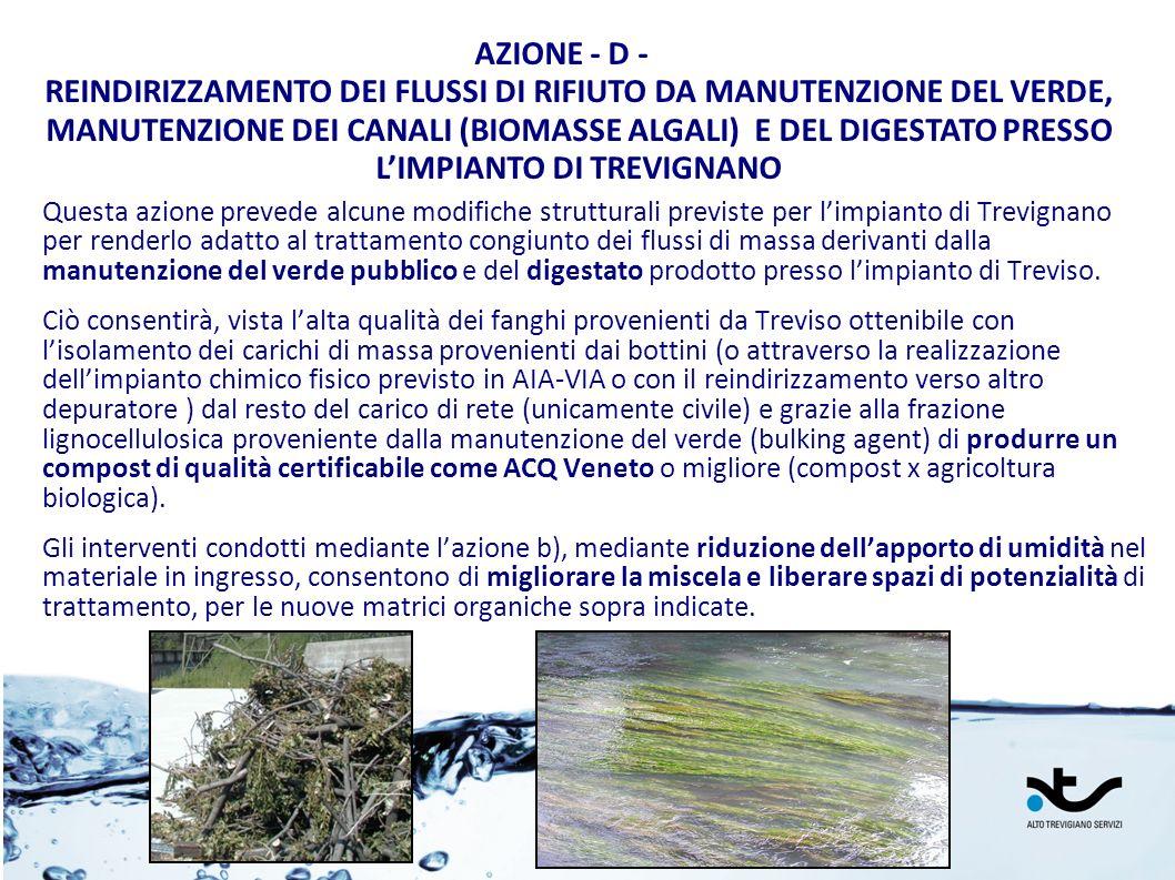 Questa azione prevede alcune modifiche strutturali previste per limpianto di Trevignano per renderlo adatto al trattamento congiunto dei flussi di mas
