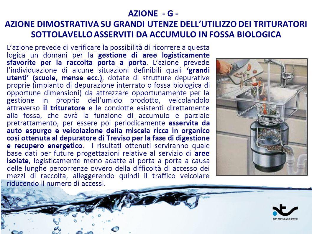 AZIONE - G - AZIONE DIMOSTRATIVA SU GRANDI UTENZE DELLUTILIZZO DEI TRITURATORI SOTTOLAVELLO ASSERVITI DA ACCUMULO IN FOSSA BIOLOGICA Lazione prevede d