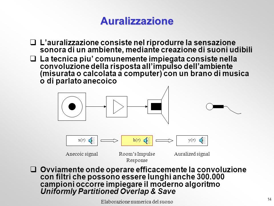 13 Elaborazione numerica del suono h( ) x( ) Che differenza cè fra un segnale, un sistema ed un filtro? Nel dominio dei segnali campionati, NON CE NES