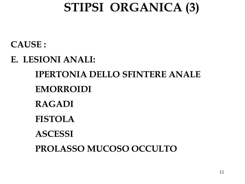 11 STIPSI ORGANICA (3) CAUSE : E.LESIONI ANALI: IPERTONIA DELLO SFINTERE ANALE EMORROIDI RAGADI FISTOLA ASCESSI PROLASSO MUCOSO OCCULTO
