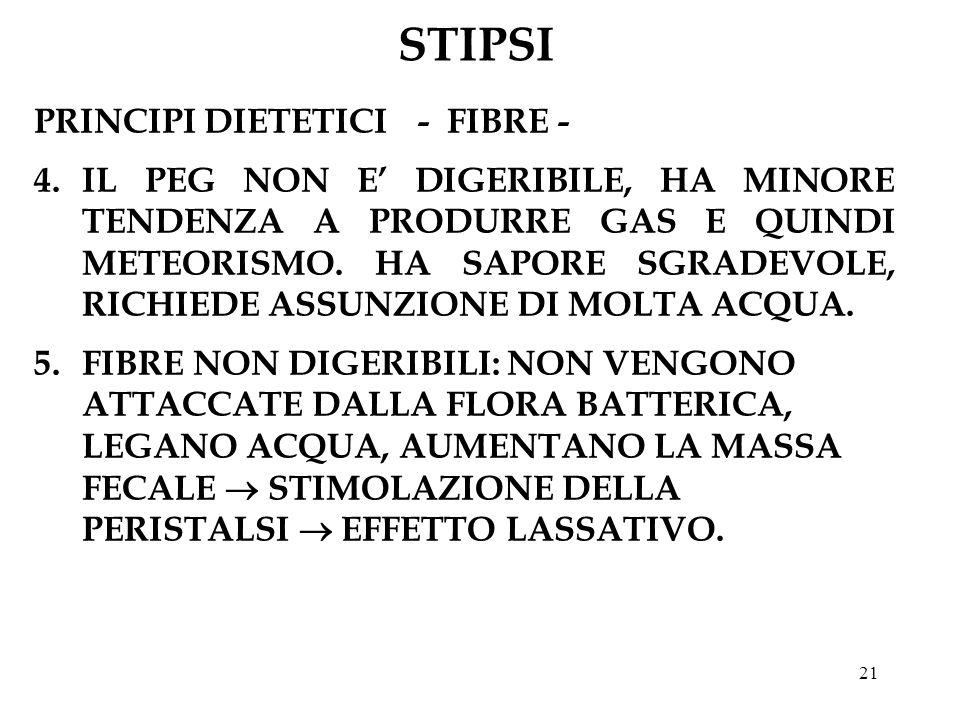 21 STIPSI PRINCIPI DIETETICI- FIBRE - 4.IL PEG NON E DIGERIBILE, HA MINORE TENDENZA A PRODURRE GAS E QUINDI METEORISMO.